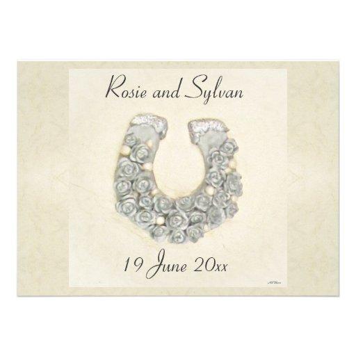 Silver Roses Horseshoe Wedding Custom Invitations