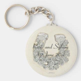 Silver Roses Horseshoe Wedding Handfasting Keychain