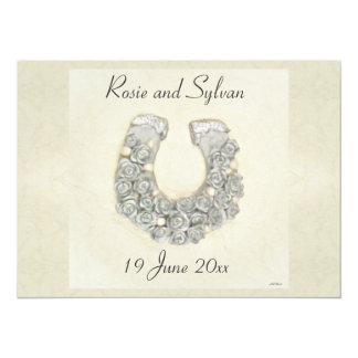 Silver Roses Horseshoe Wedding 5.5x7.5 Paper Invitation Card