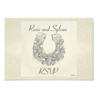 Silver Roses Horseshoe Wedding RSVP 3.5x5 Paper Invitation Card