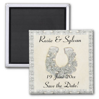 Silver Roses Horseshoe Wedding Save the Date Refrigerator Magnet