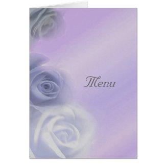 Silver Roses Wedding Menu Card card