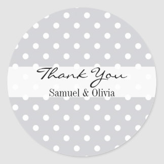 Silver Round Custom Polka Dotted Thank You Classic Round Sticker