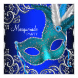 Silver Royal and Teal Blue Masquerade Party 5.25x5.25 Square Paper Invitation Card