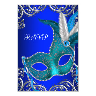 Silver Royal and Teal Blue Masquerade Party RSVP 3.5x5 Paper Invitation Card