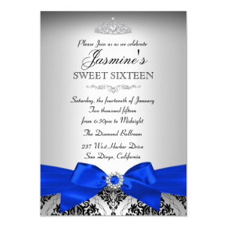 Silver & Royal Blue Damask Sweet 16 Invitation