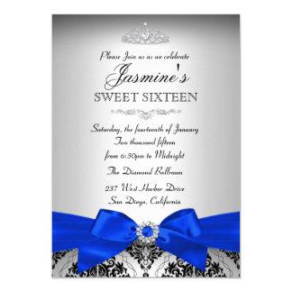 Silver & Royal Blue Damask Sweet 16 Invitation