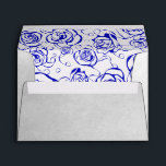 """Silver &amp; Royal Blue Invitation Envelopes<br><div class=""""desc"""">This envelope has a beautiful silver foil effect with a royal blue rose pattern inside. This is part of a beautiful matching wedding collection that can be personalized to your liking.</div>"""