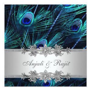 Silver Royal Blue Peacock Wedding 5.25x5.25 Square Paper Invitation Card