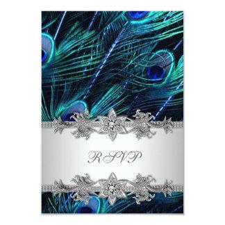 Silver Royal Blue Peacock Wedding RSVP Card