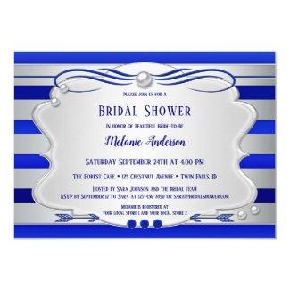 Silver Royal Blue Striped Bridal Shower Invitation