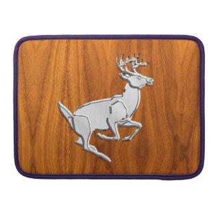 Silver Running Deer on Teak Decor Sleeve For MacBook Pro