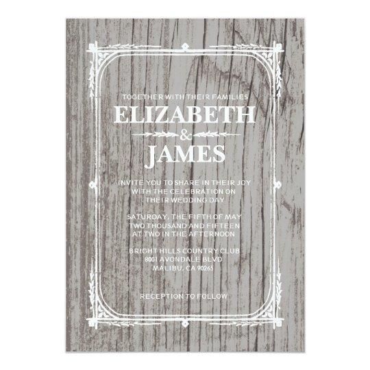 Silver Rustic Barn Wood Wedding Invitations