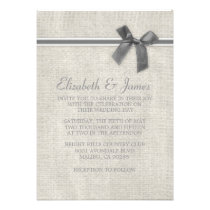 Silver Rustic Burlap Wedding Invitations Personalized Announcements