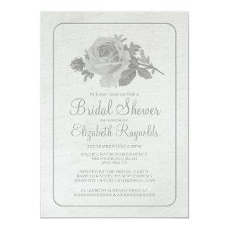 Silver Rustic Floral/Flower Bridal Shower Invites Announcements