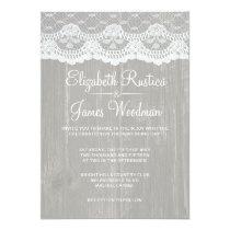 Silver Rustic Lace & Barn Wood Wedding Invitations