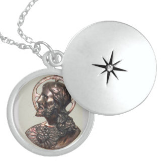SILVER SACRED HEART OF JESUS LOCKET NECKLACE