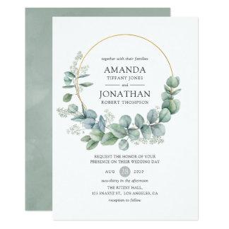 Silver Sage Geometric Eucalyptus Wedding Invitation