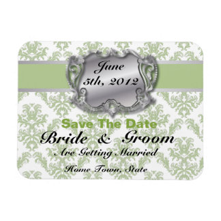 Silver & Sage Green 3 - Save The Date Flex Magnet