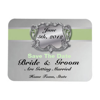 Silver & Sage Green - Save The Date Flex Magnet