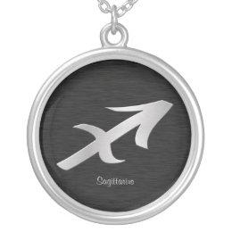 Silver Saggitarius Zodiac Symbol Silver Plated Necklace