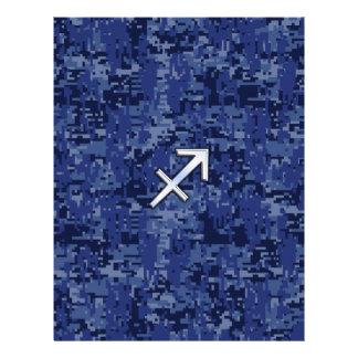 Silver Sagittarius Zodiac Sign Navy Digital Camo Letterhead