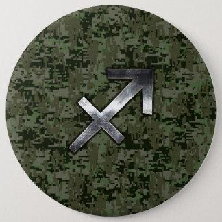 Silver Sagittarius Zodiac Woodland Digital Camo Button
