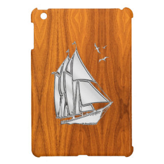 Silver Sail Boat on Teak Veneer Decor iPad Mini Cover