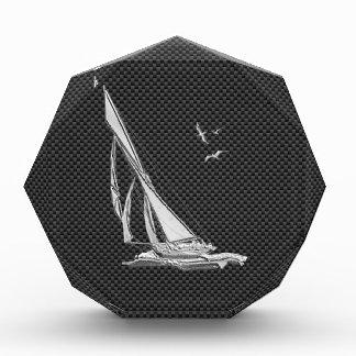 Silver Sailboat on Carbon Fiber Decor Award