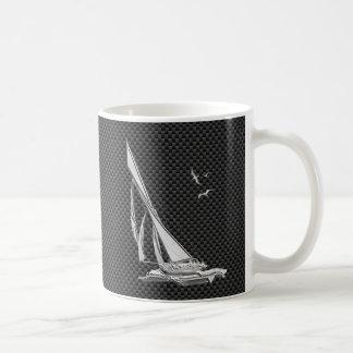 Silver Sailboat on Carbon Fiber Decor Coffee Mug