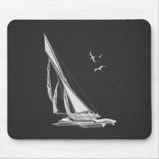 Silver Sailboat on Carbon Fiber Decor Mouse Pad