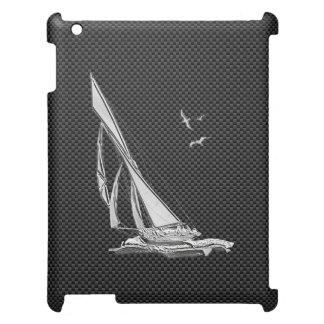 Silver Sailboat Regatta on Carbon Fiber Cover For The iPad