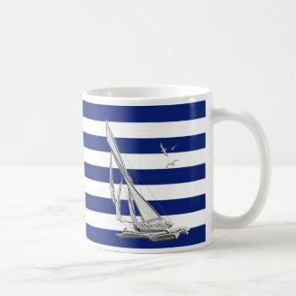 Silver Sailing on Nautical Stripes Coffee Mug