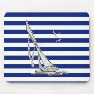 Silver Sailing on Nautical Stripes Mouse Pad