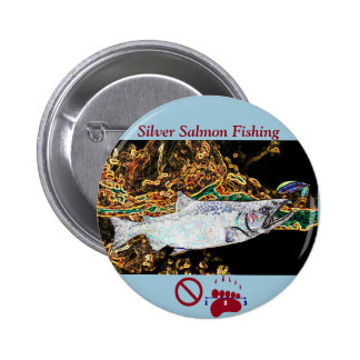 Silver Salmon Coho Fly Fishing Pinback Button