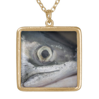 Silver Salmon Face Gold Plated Necklace