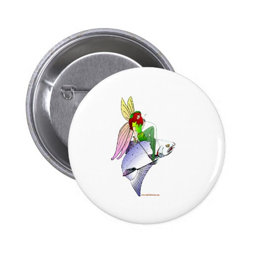SILVER SALMON FAIRY PINBACK BUTTONS