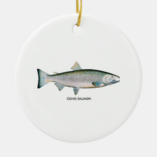 Silver Salmon (ocean phase) Christmas Ornaments