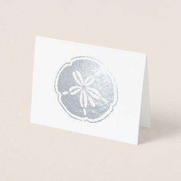 Beach Themed Silver Sand Dollar Foil Card
