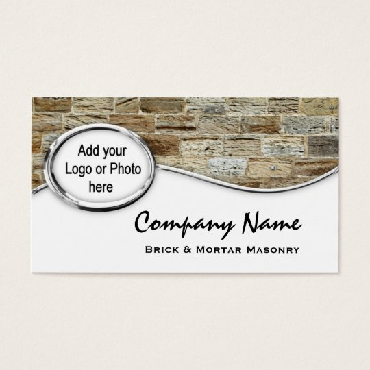 Silver Sandstone Masonry Logo Photo Business Cards