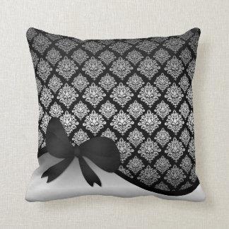 Silver Satin Damask black swirl Ribbon bow Throw Pillow