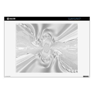 """Silver Satin Damask White Pearls Fabric 14"""" Laptop Skin"""