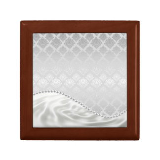Silver Satin Damask White Pearls Fabric Plush box