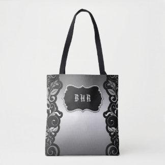 Silver Satin Flourish black & gray personalize Tote Bag