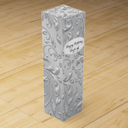 Silver Satin Personalized Wine Box