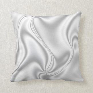 Silver Satin Throw Pillow