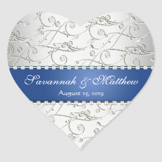 Silver Save the Date Royal Blue Wedding Seal Heart Sticker