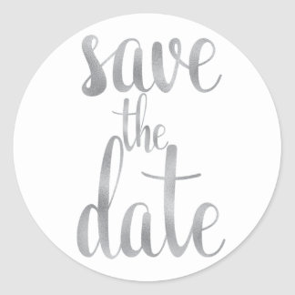 Silver save the date stickers