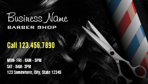 Barber business cards zazzle silver scissor professional barber shop business card colourmoves