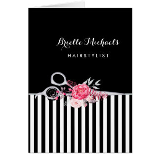 Silver Scissors Stripes Pink Floral Hair Salon Card